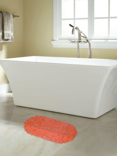Solid Shower And Bathmat Set (Orange & Beige)