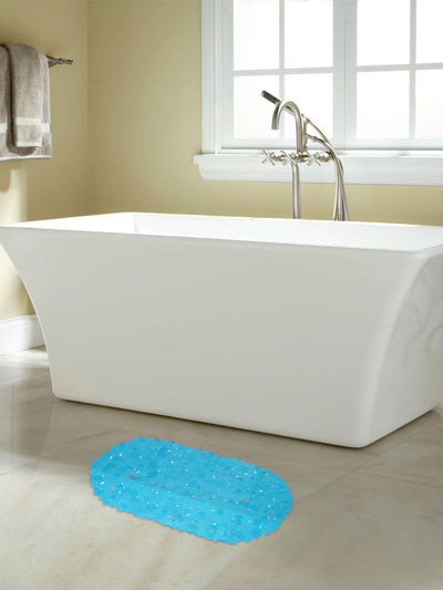 Solid Shower And Bathmat Set (Sea Green & Indigo)
