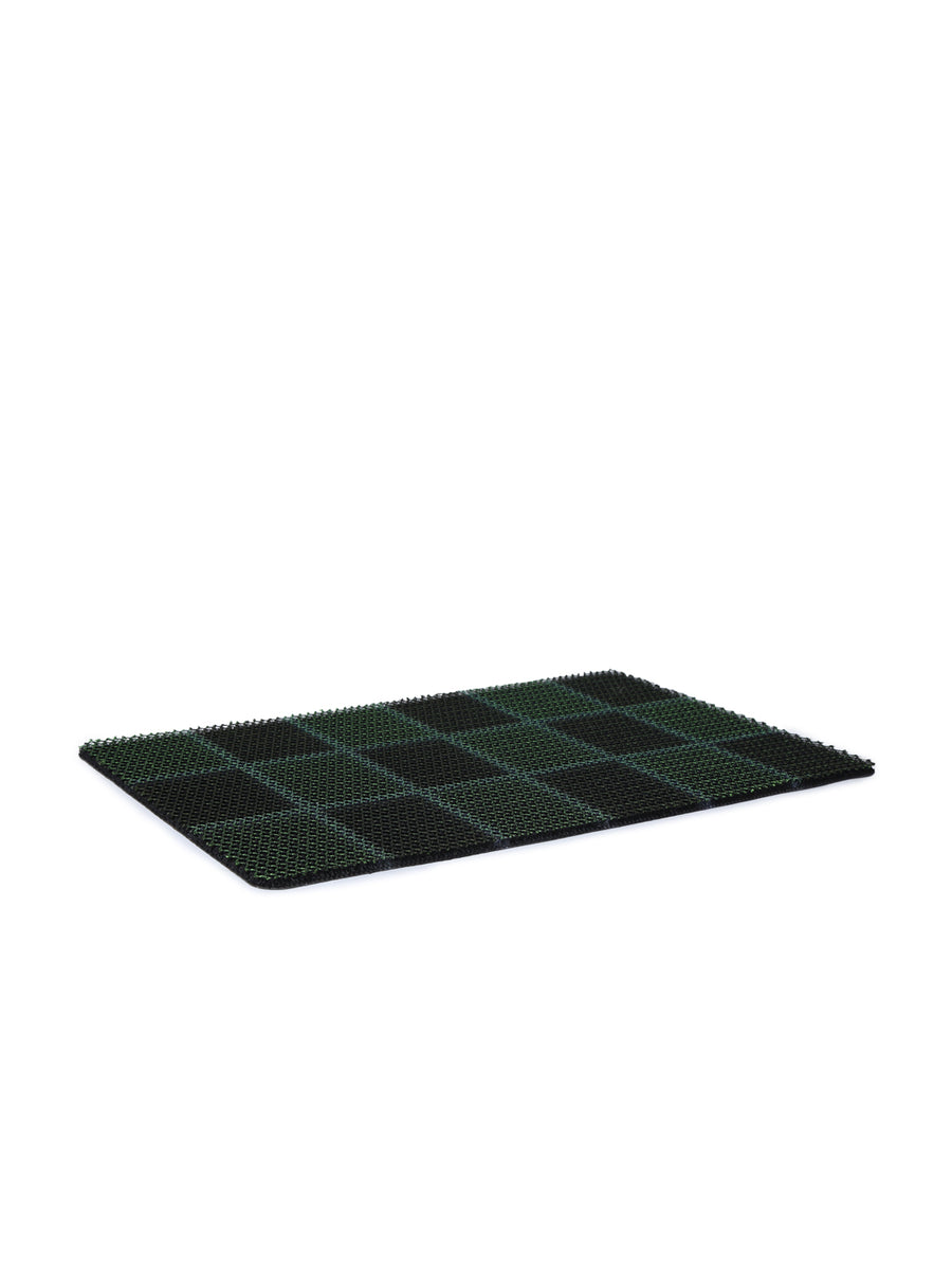 Checks Rubber Doormat (Green)