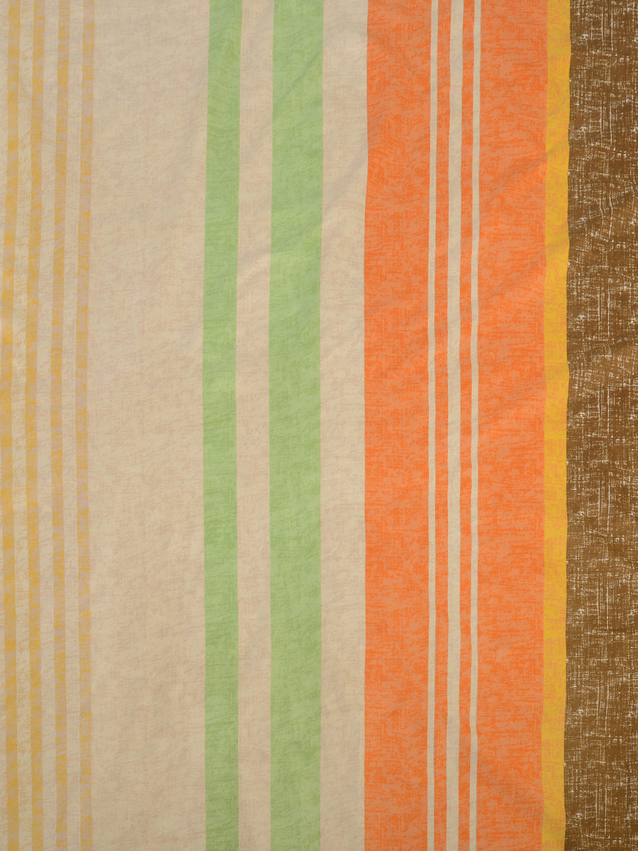 Stripes Double Bedsheet with 2 Pillow Covers (Brown)