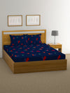 Heart Double Bedsheet with 2 Pillow Covers (Blue)