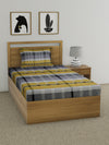 Checks Single Bedsheet with 1 Pillow Cover (Grey)