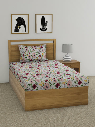 Floral Single Bedsheet with 1 Pillow Cover (Multicolor)