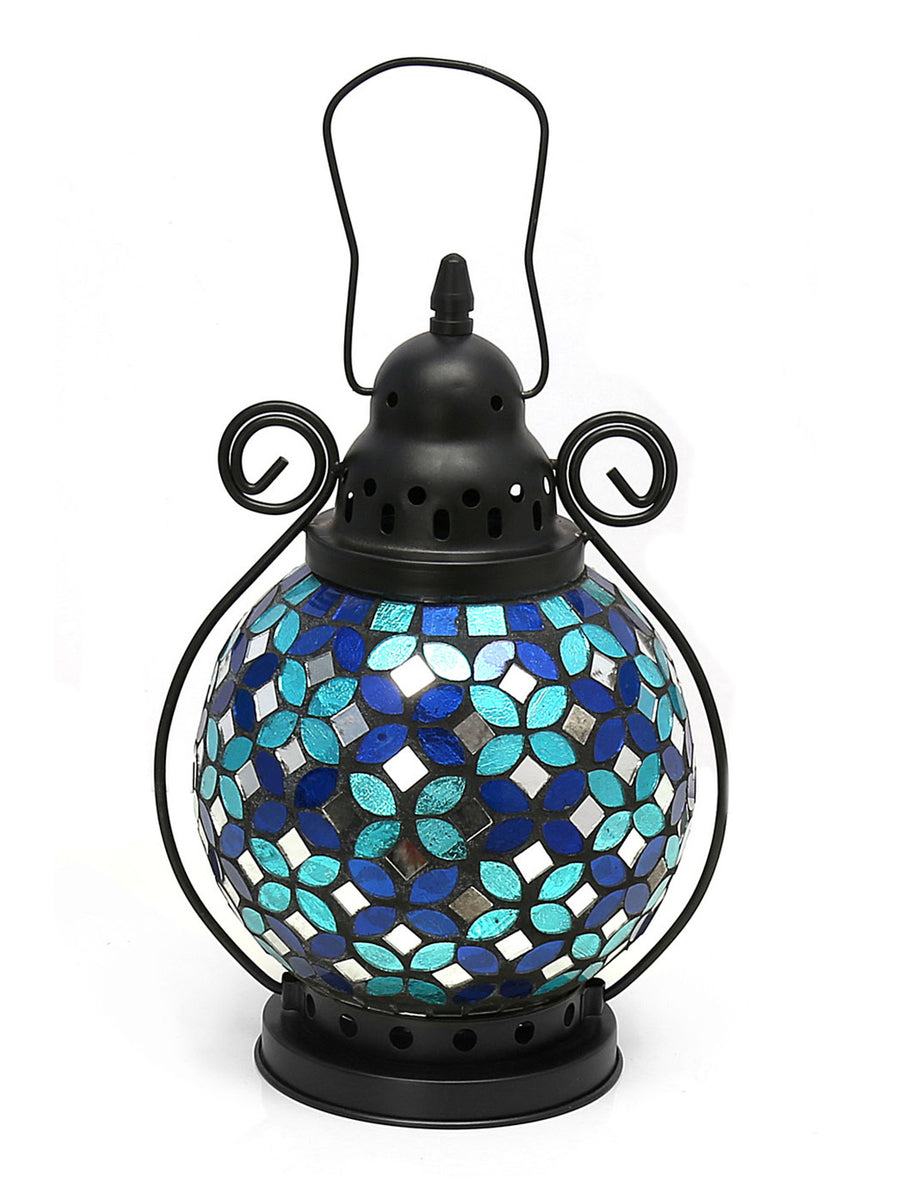 Mosaic Round Lantern (Sea Green)