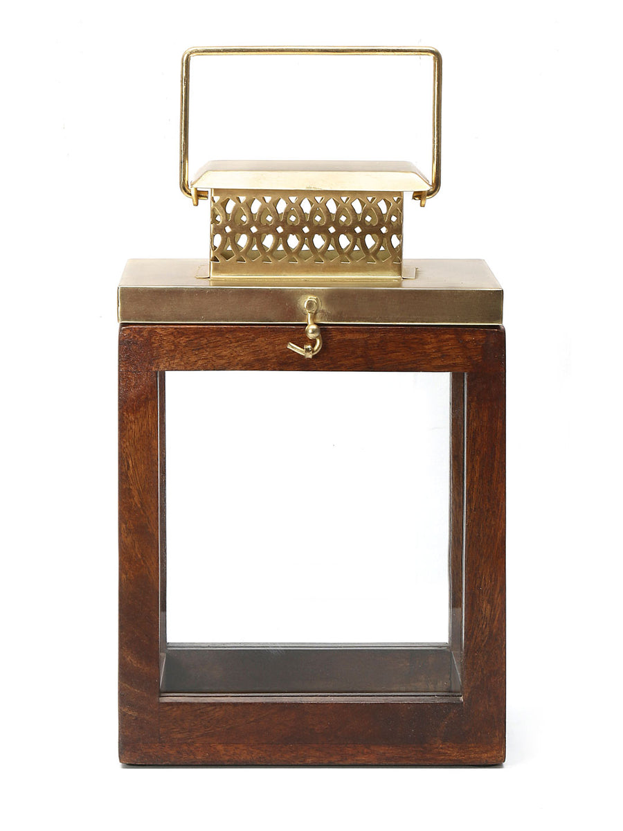 Square Wooden Lantern (Gold & Brown)