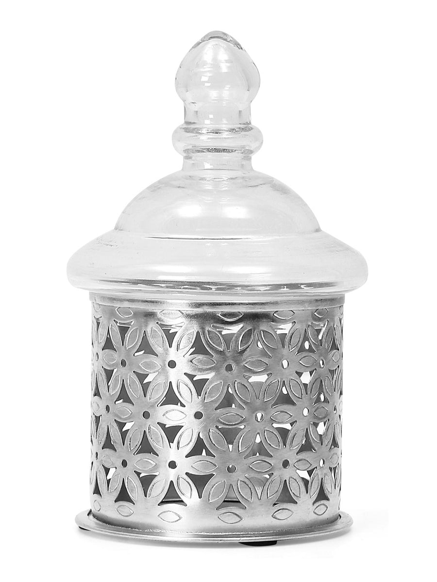 Cutwork Candle Stand With Lid (Silver)