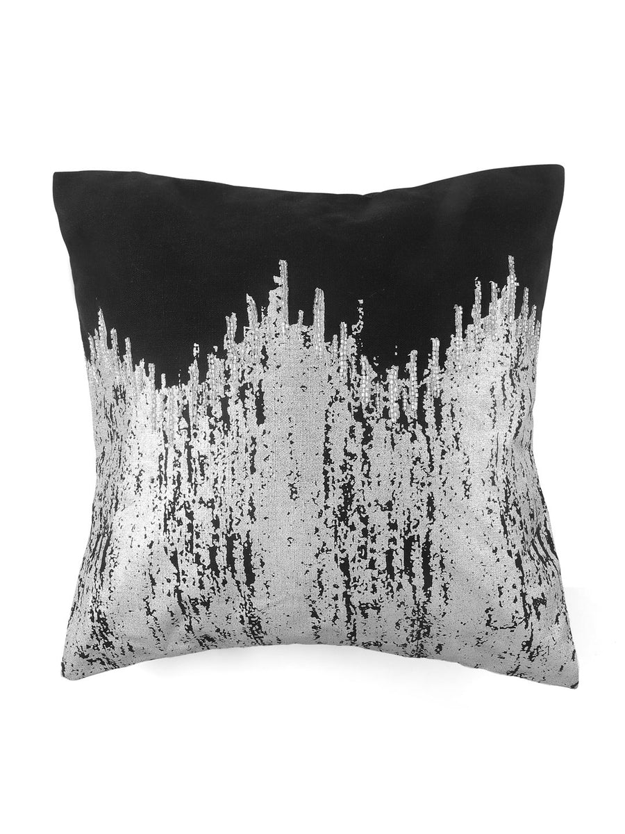 Foil Ikat Cushion cover (Black & Grey)