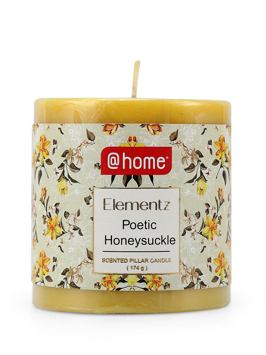 Rustic Peach Honeysuckle Small Pillar Candle (Yellow)