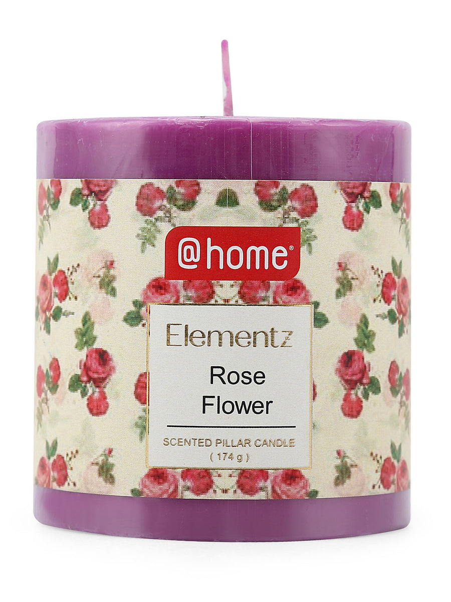Rustic Rose Flower Small Pillar Candle (Purple)