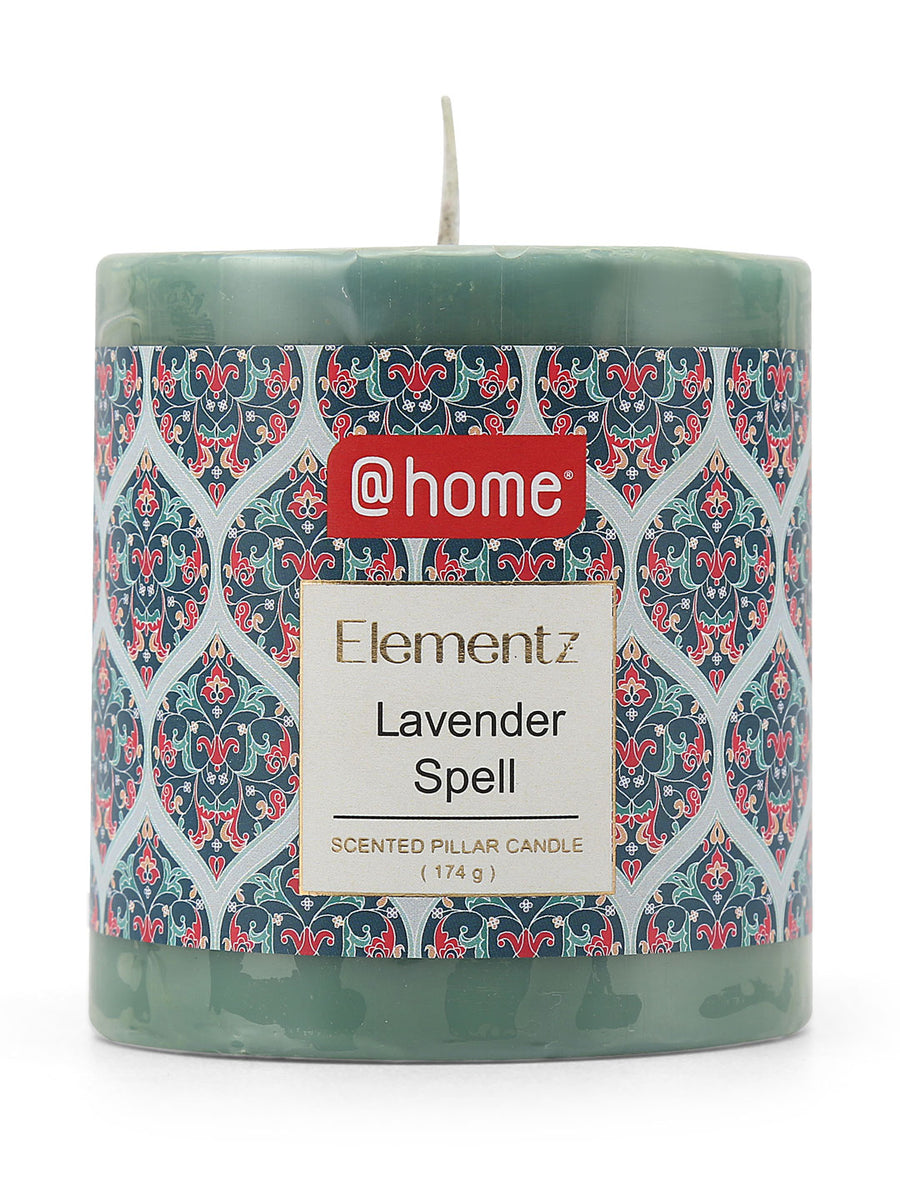 Rustic Lavender Spell Small Pillar Candle (Blue)