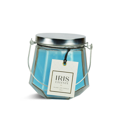 Iris Jar Candle With Metal ( Coral Blue)