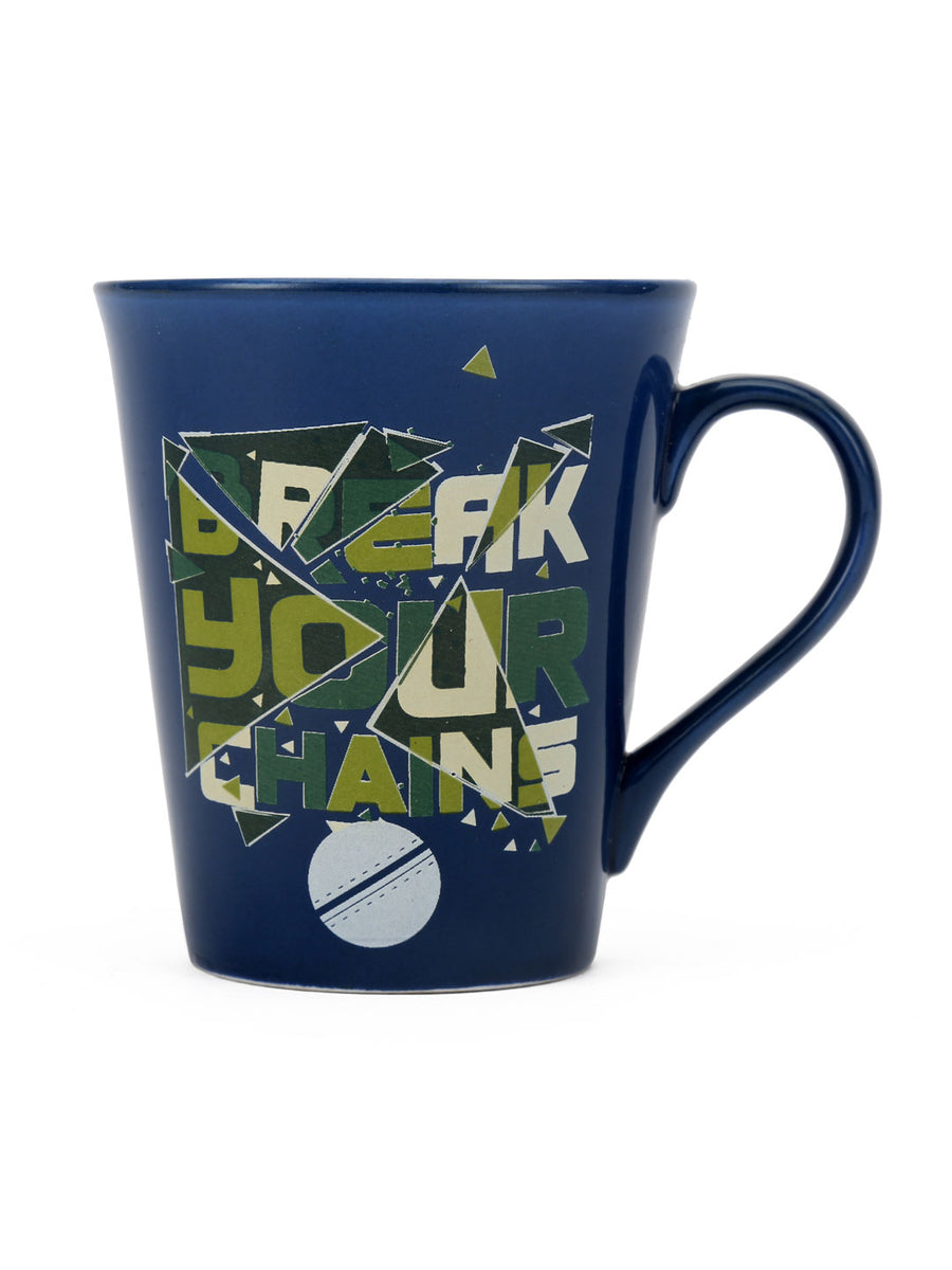 """83"" Zing Champion Dual Tone 350 ml Ceramic Mug (Blue & Sea Green)"