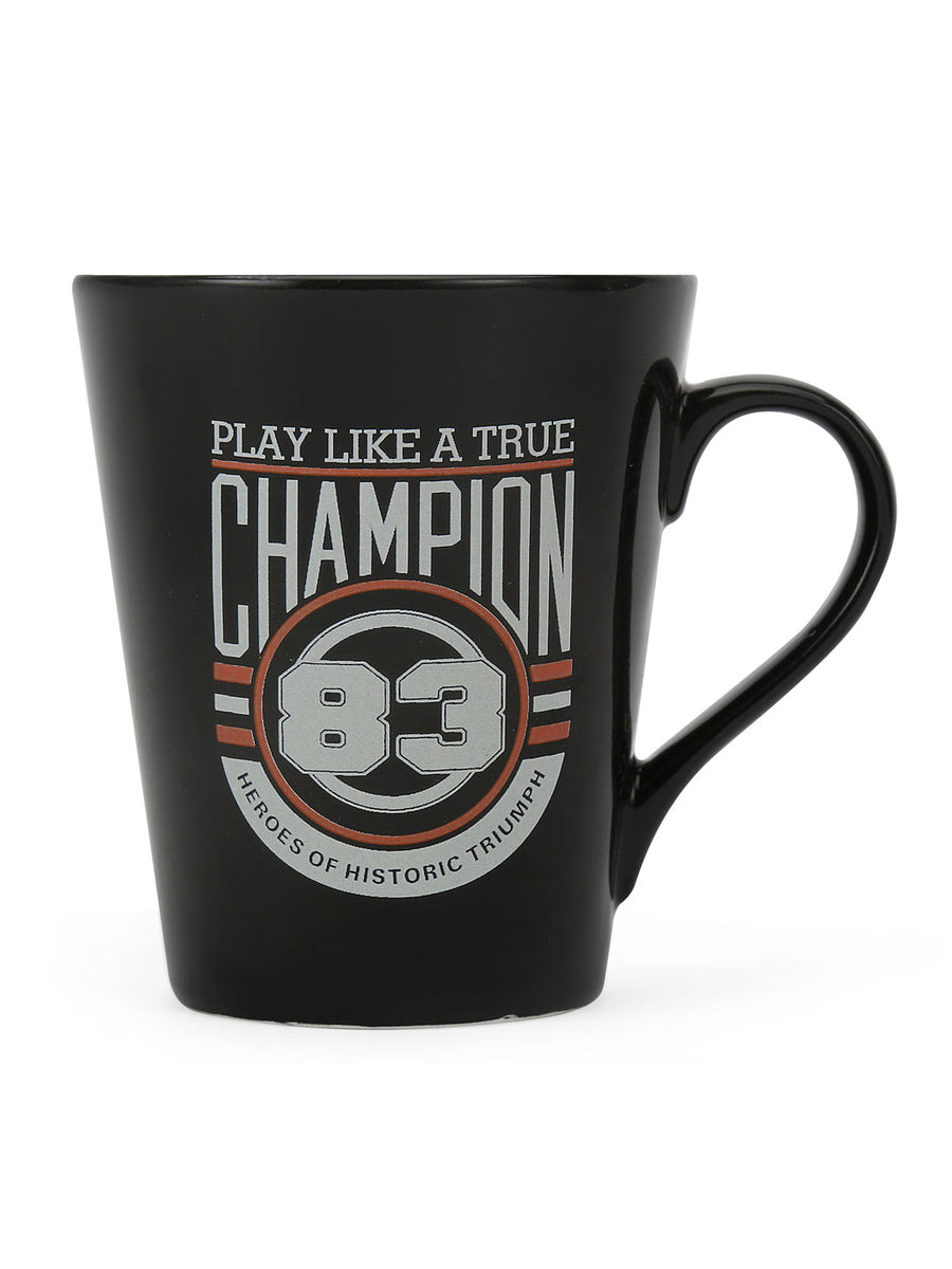 """83"" Zing Champion Dual Tone 350 ml Ceramic Mug (Black & Orange)"