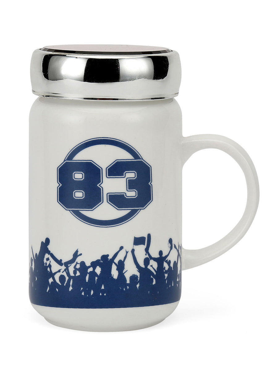 """83"" Believe Printed 500 ml Ceramic Mug with Lid (White)"