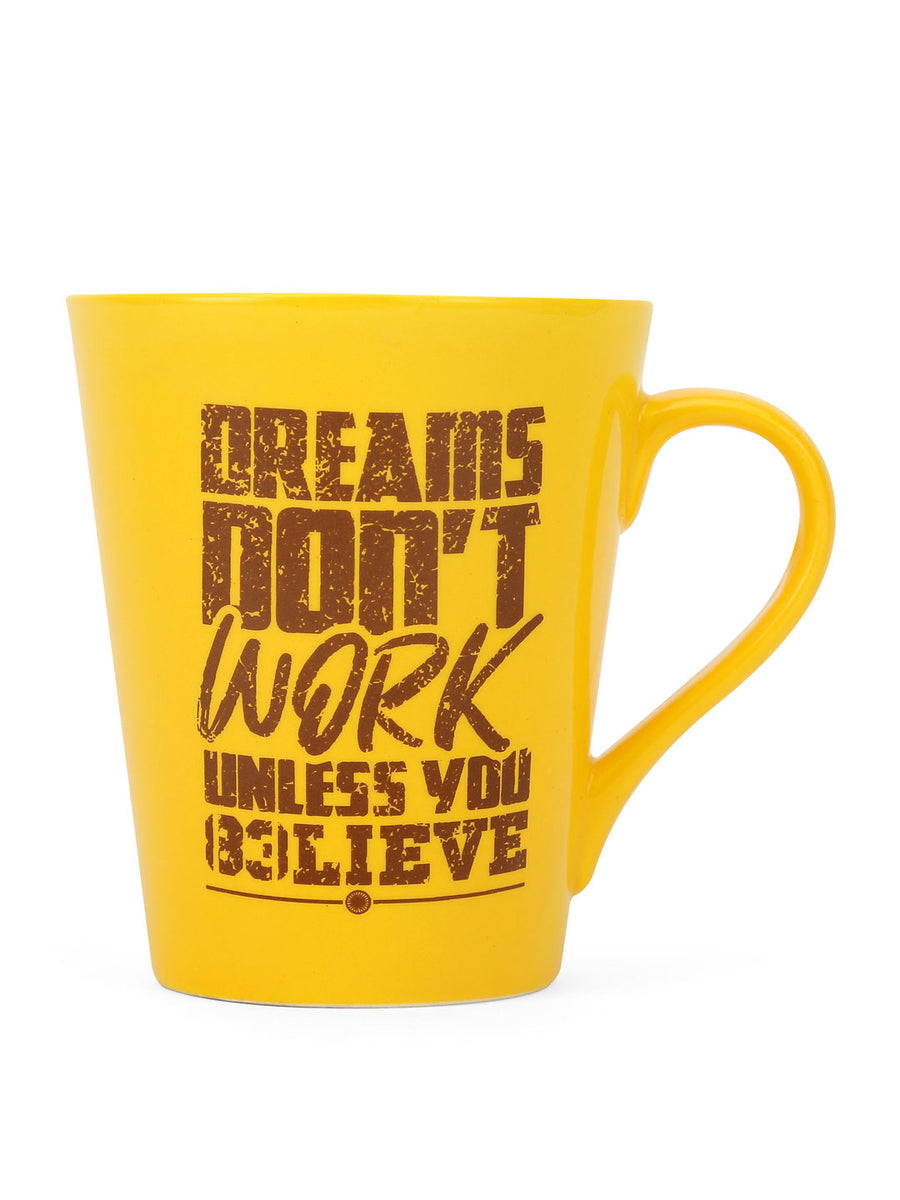 """83"" Belive Dual Tone 350 ml Ceramic Mug with Lid (Mustard & Brown)"