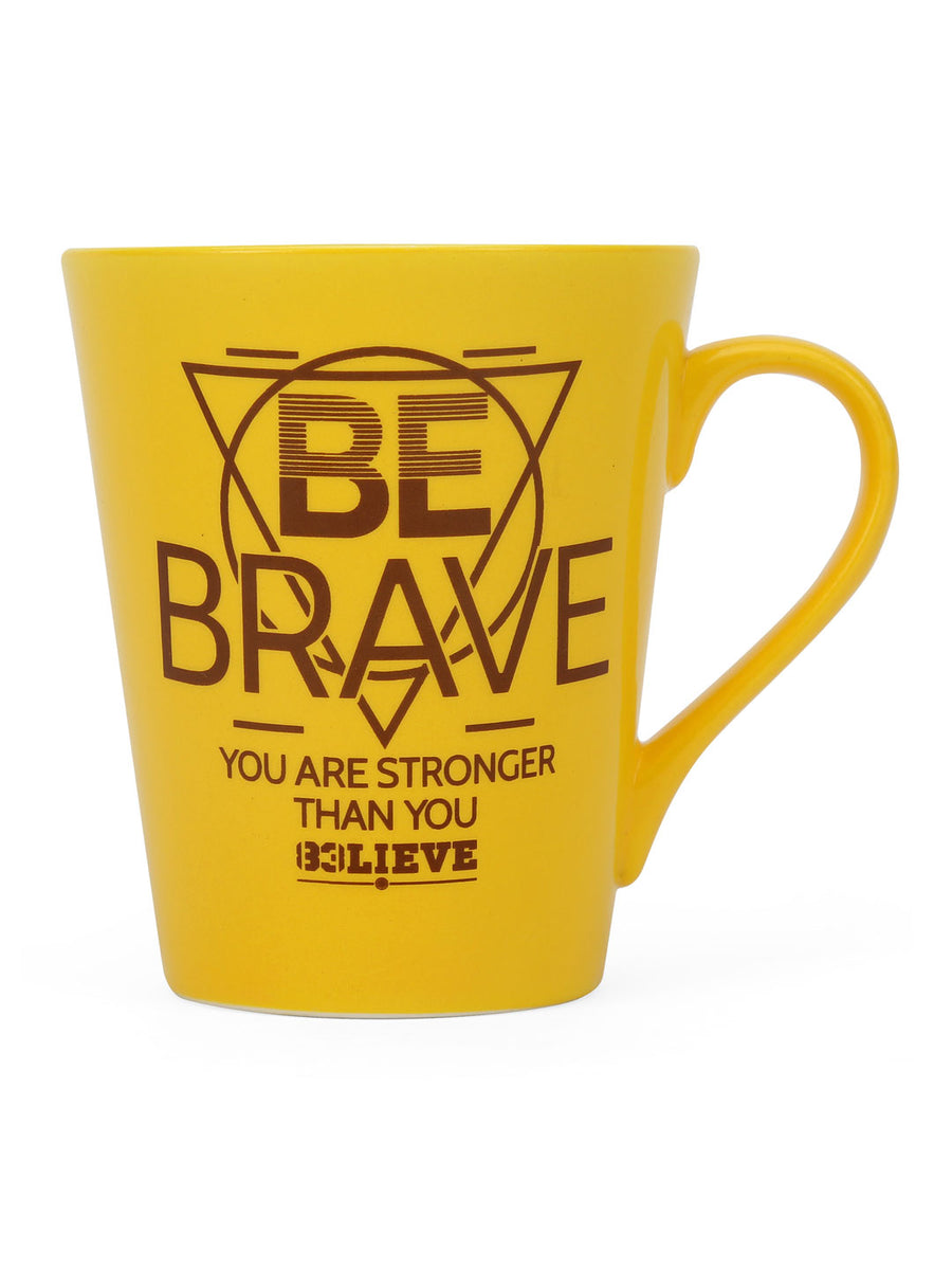 """83"" Brave Dual Tone 350 ml Ceramic Mug with Lid (Mustard & Brown)"