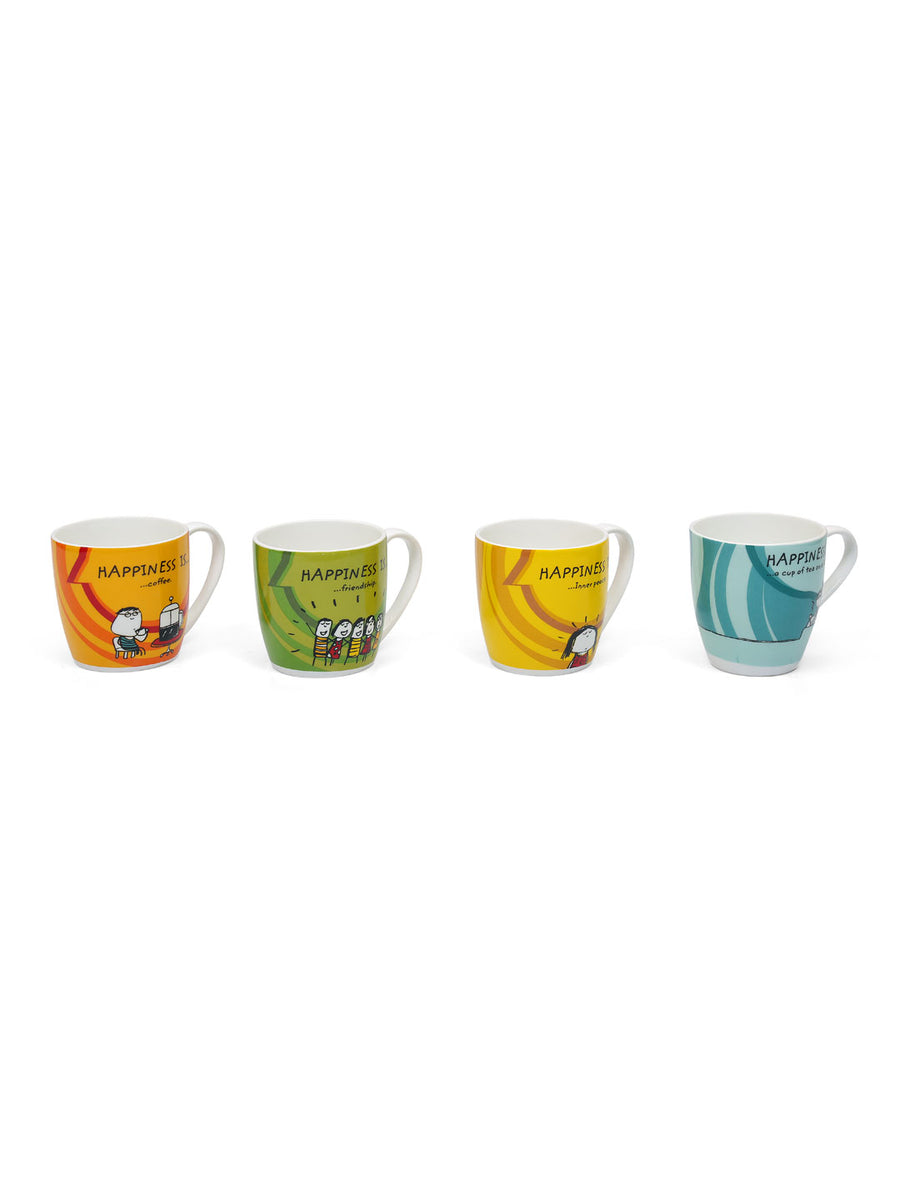 Happiness Alton Small 220 ml Mug Set of 4 (White)