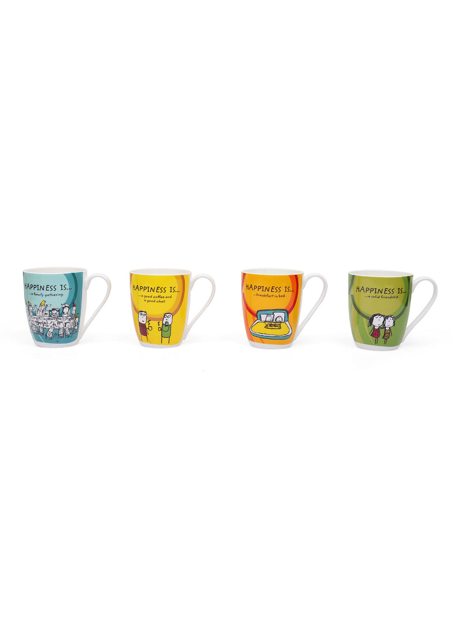 Happiness Oxford Large 330 ml Mug Set of 4 (White)