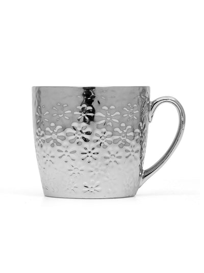 Ebony Floral Platinum 160 ml Coffee Mug (Silver)