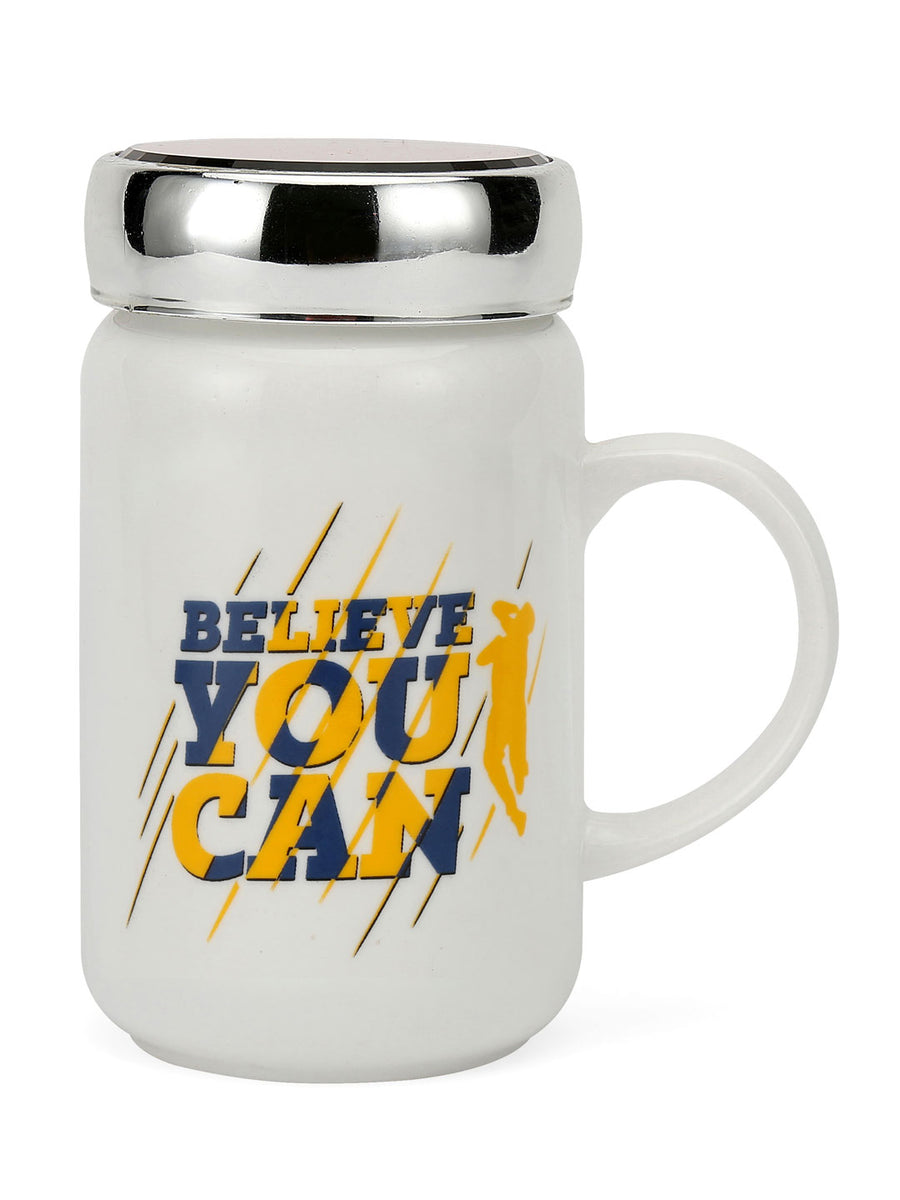 """83"" Believe you Can Printed 500 ml Ceramic Mug with Lid (White)"