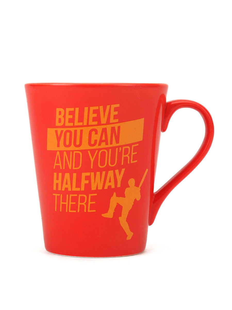 """83"" Belive Dual Tone 350 ml Ceramic Mug with Lid (Red & Mustard)"