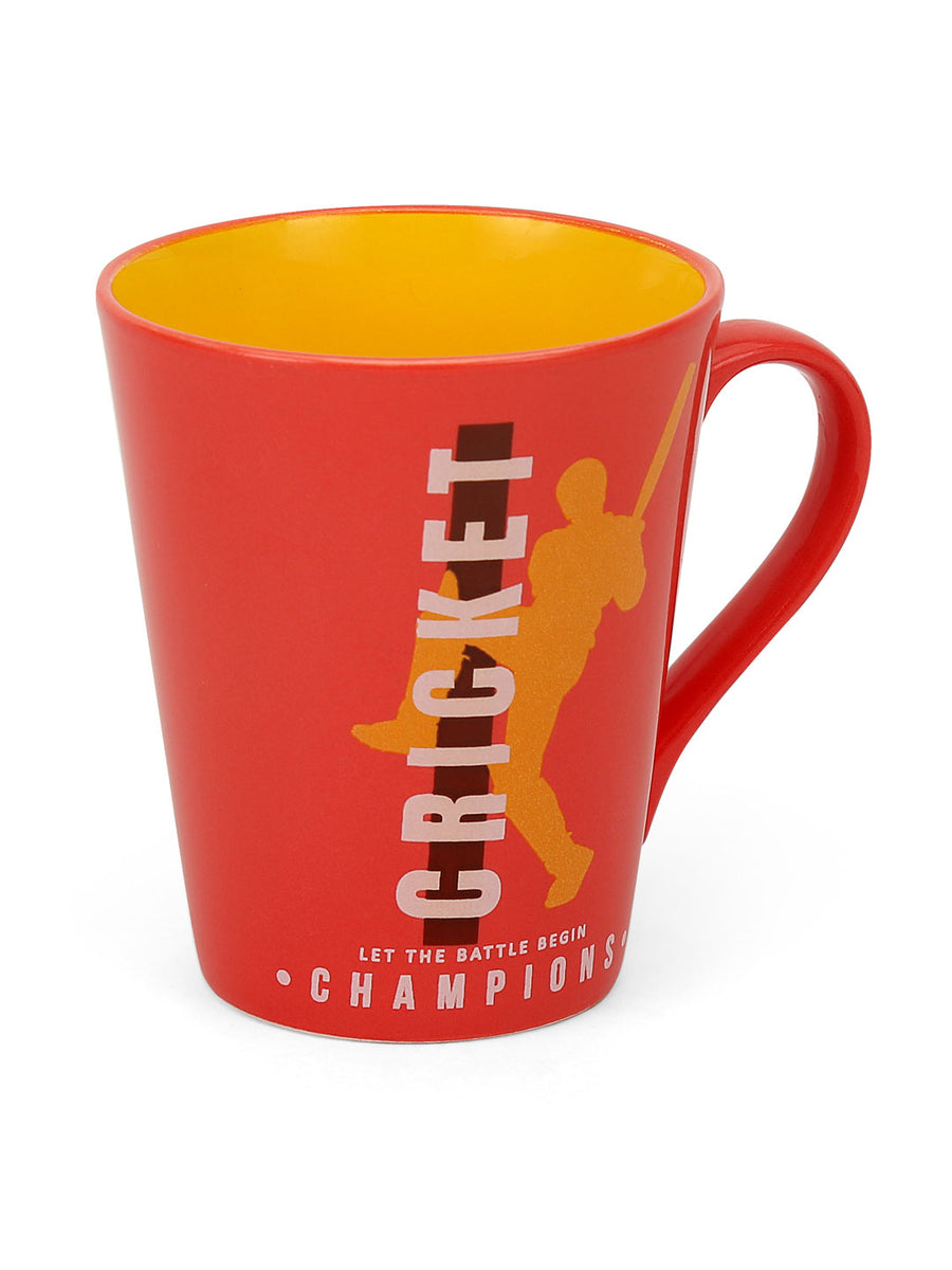 """83"" Zing Champion Dual Tone 350 ml Ceramic Mug (Red & Mustard)"