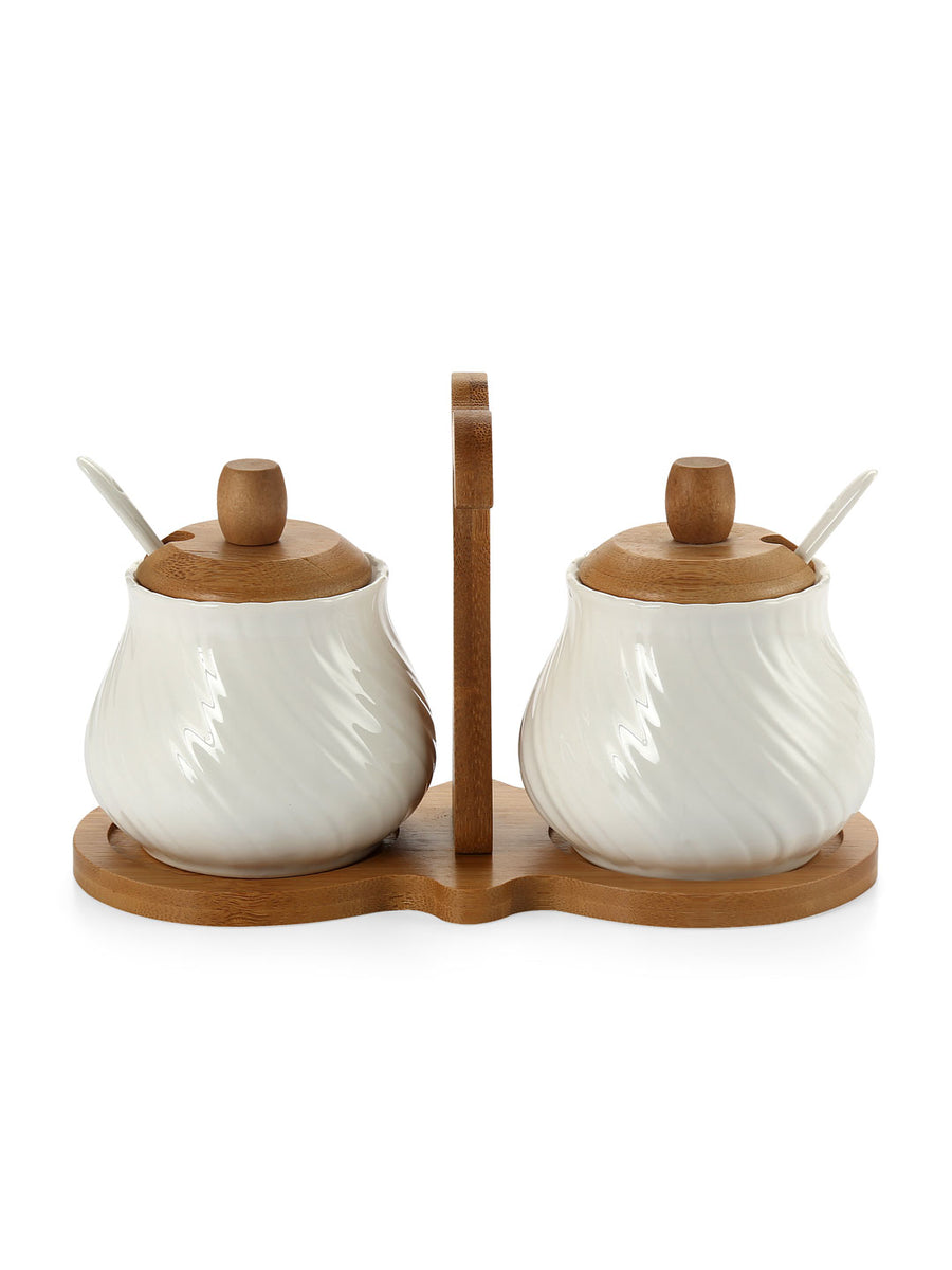 Condiment 3 Pieces Set with Spoon (Beige)