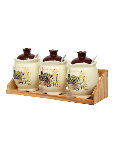 3 Pieces Condiment Set with Tray (Brown)