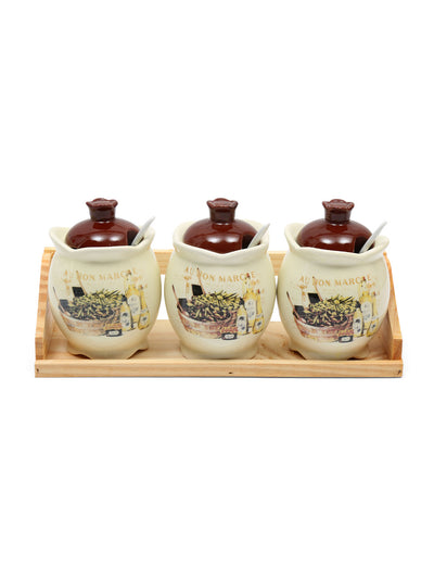 Condiment Set of 3 Pieces, Brown