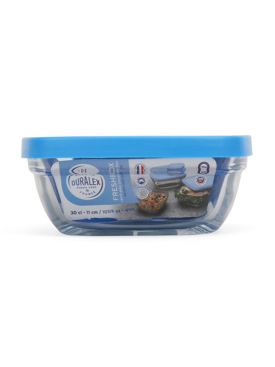 Square 300 ml Bowl with Lid (Blue)
