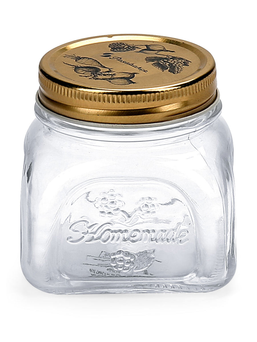 Homemade Square Jar With Metal Lid 300ml  (Transperent)