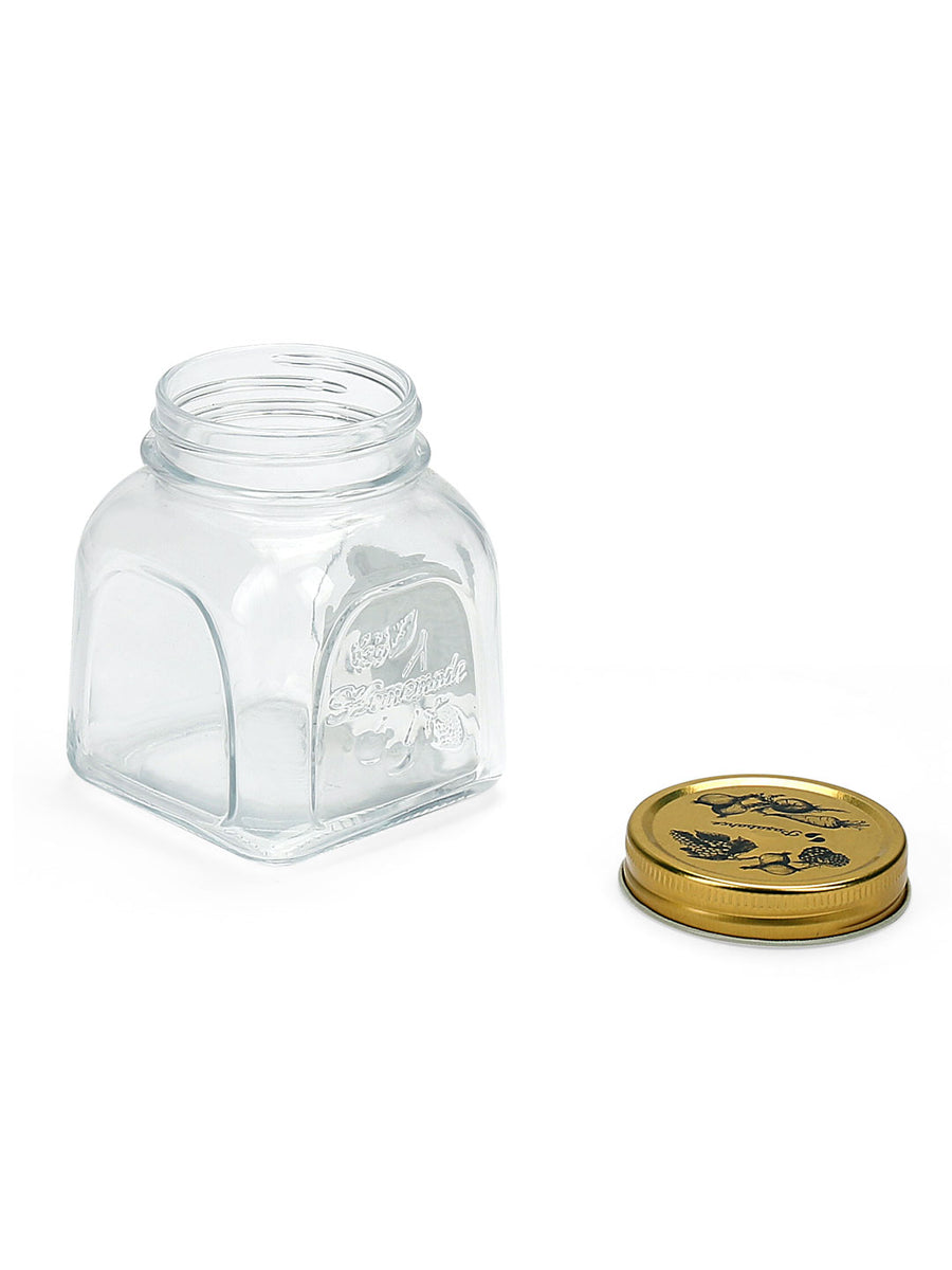 Homemade Square Jar With Metal Lid 500ml  (Transperent)