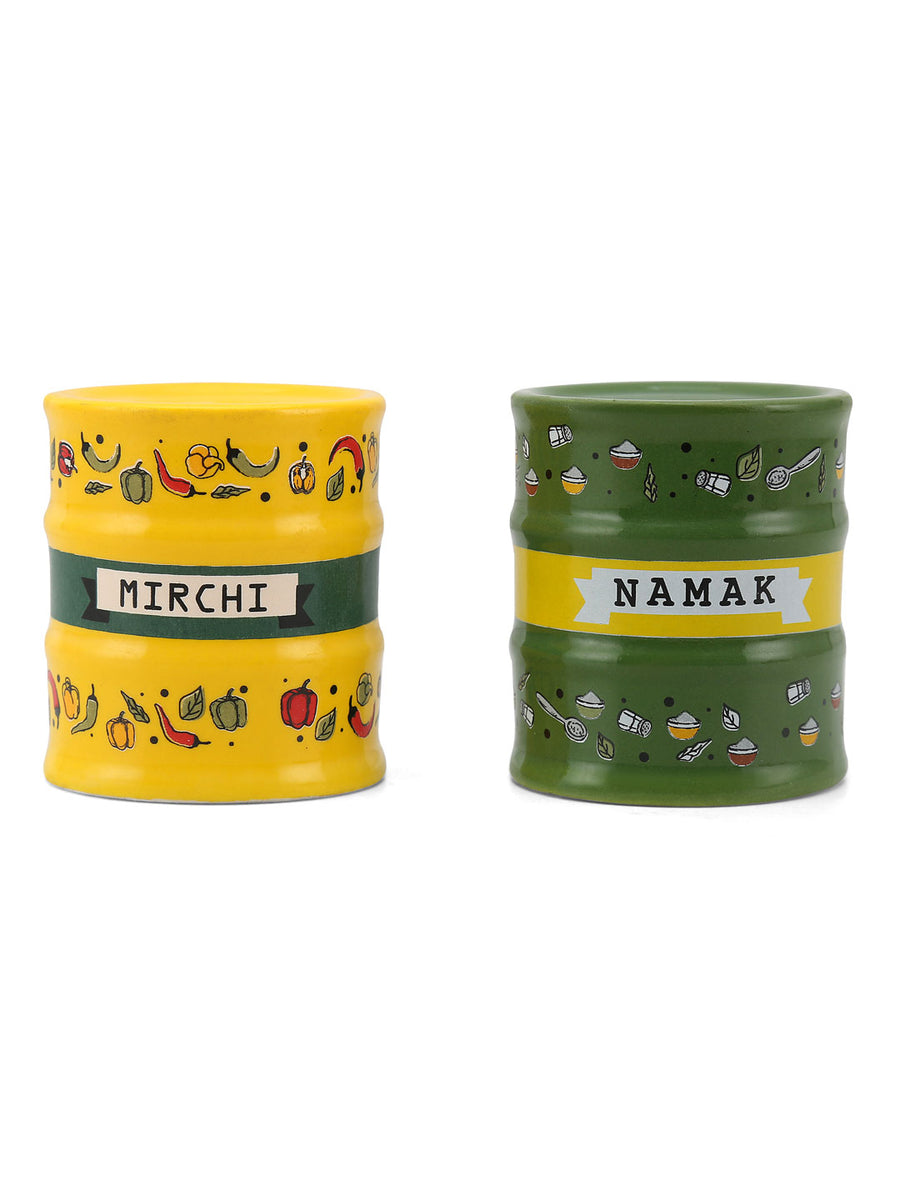 Barell Salt & Pepper 2 Pieces (Green & Yellow)