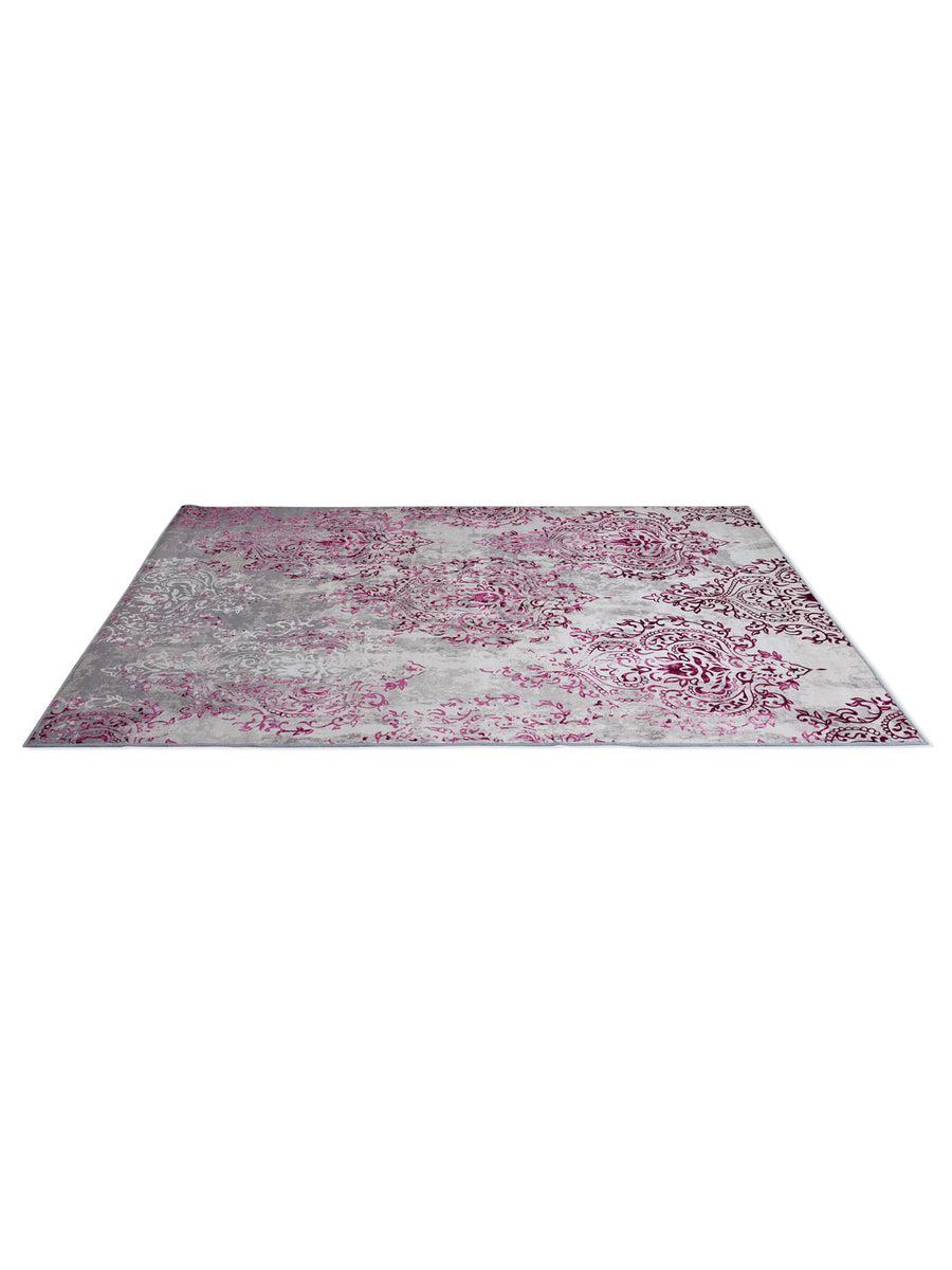 Motif 160 cm x 210 cm Carpet (Beige & Purple)