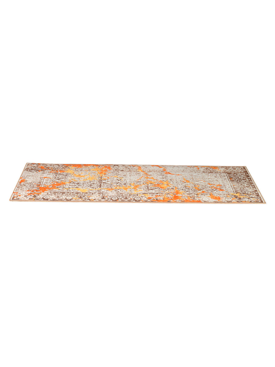 Motif 60 cm x 150 cm Carpet (Orange & Grey)