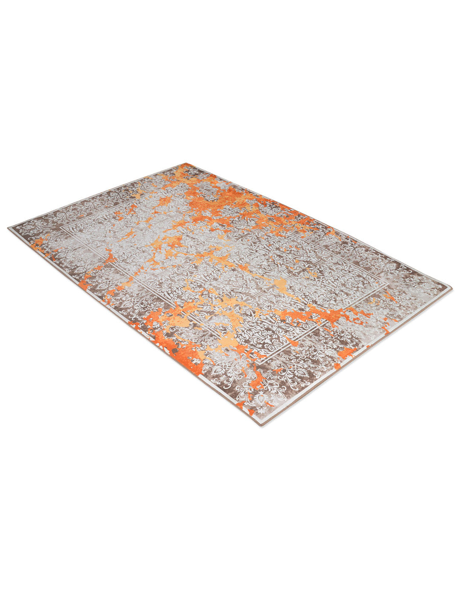 Motif 120 cm x 180 cm Carpet (Orange & Grey)