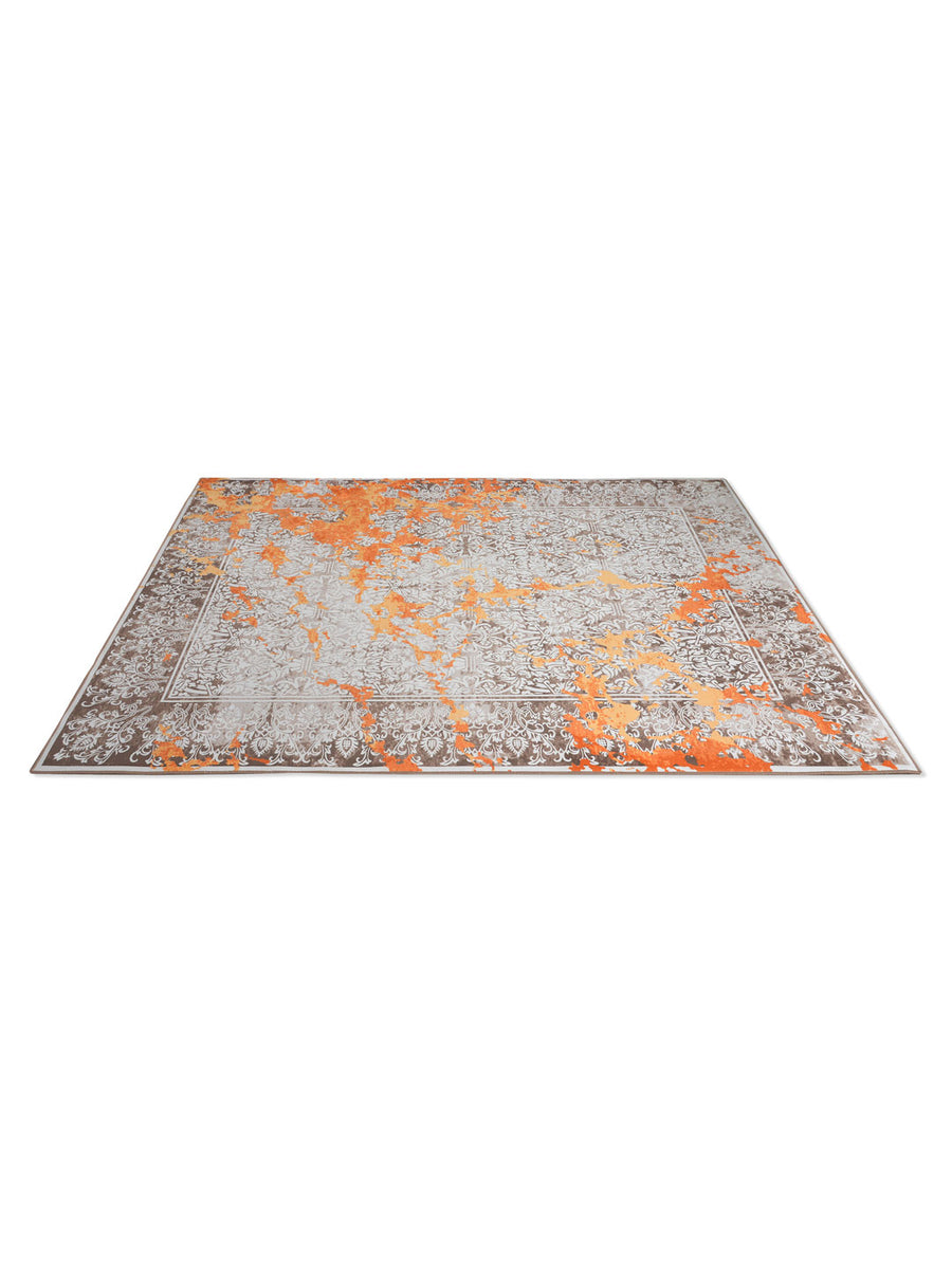 Motif 160 cm x 210 cm Carpet (Orange & Grey)