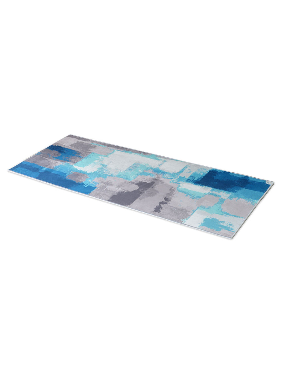 Strokes 60 cm x 150 cm Carpet (Grey & Blue)