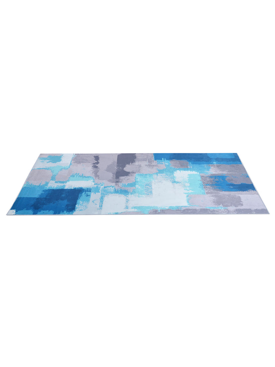 Strokes 120 cm x 180 cm Carpet (Grey & Blue)