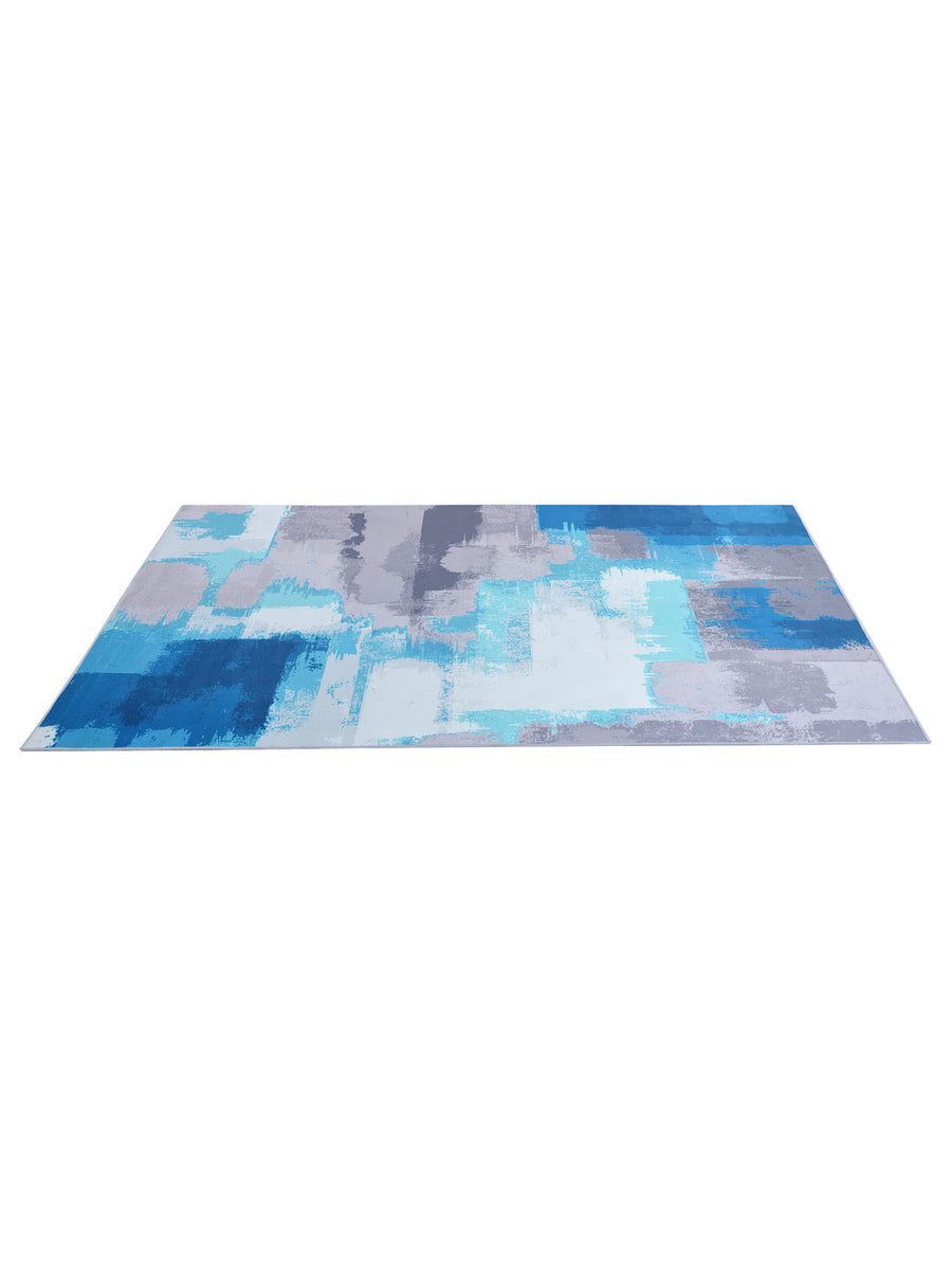 Strokes 160 cm x 210 cm Carpet (Grey & Blue)