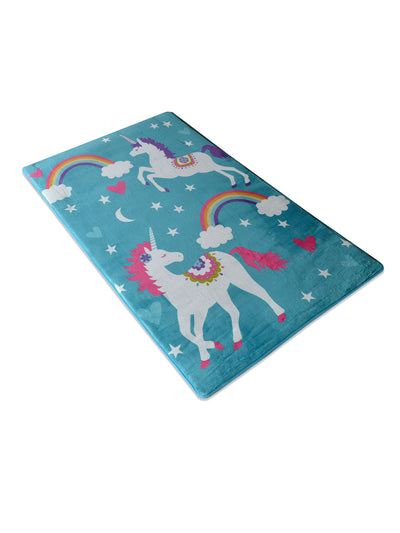 Unicorn 90 cm x 150 cm Kids Carpet (Sea Green)