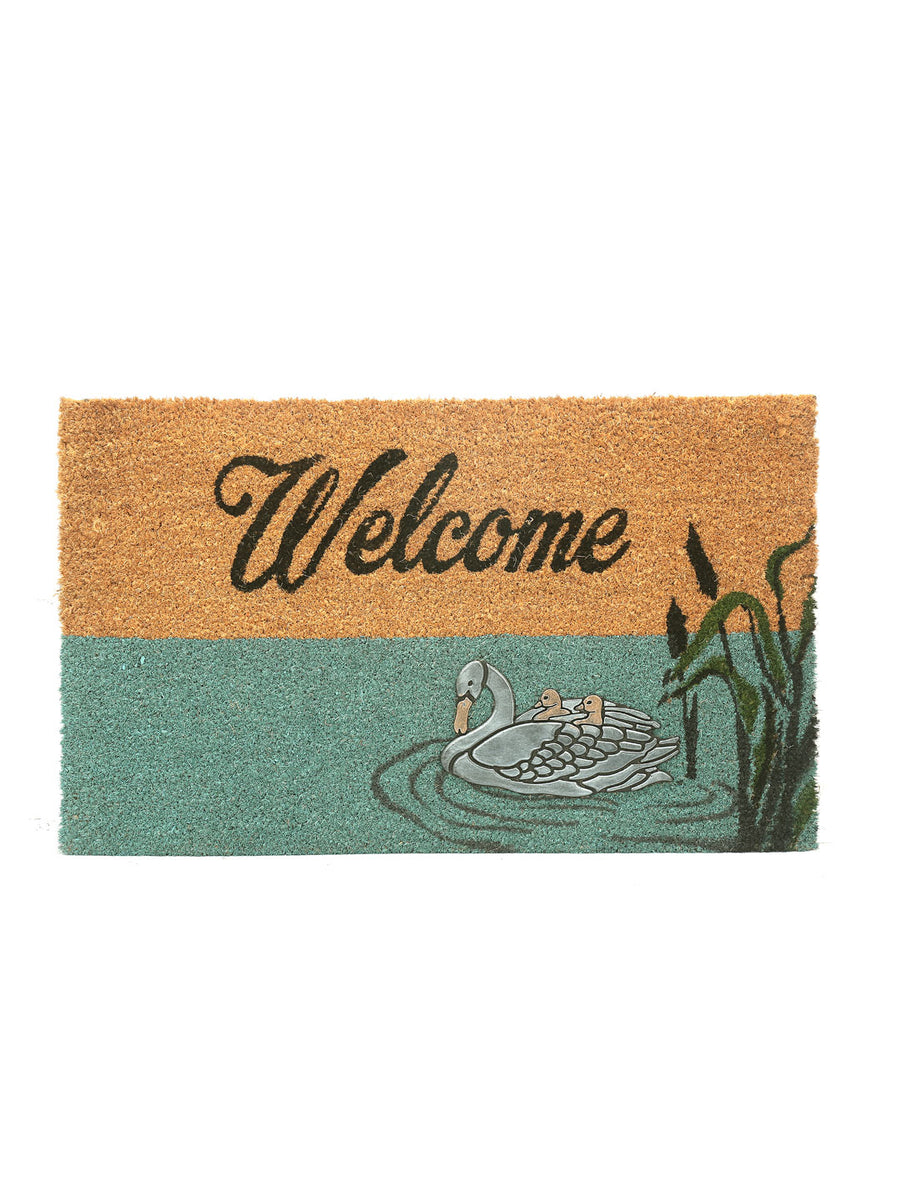 Welcome Duck Coir Doormat (Blue)