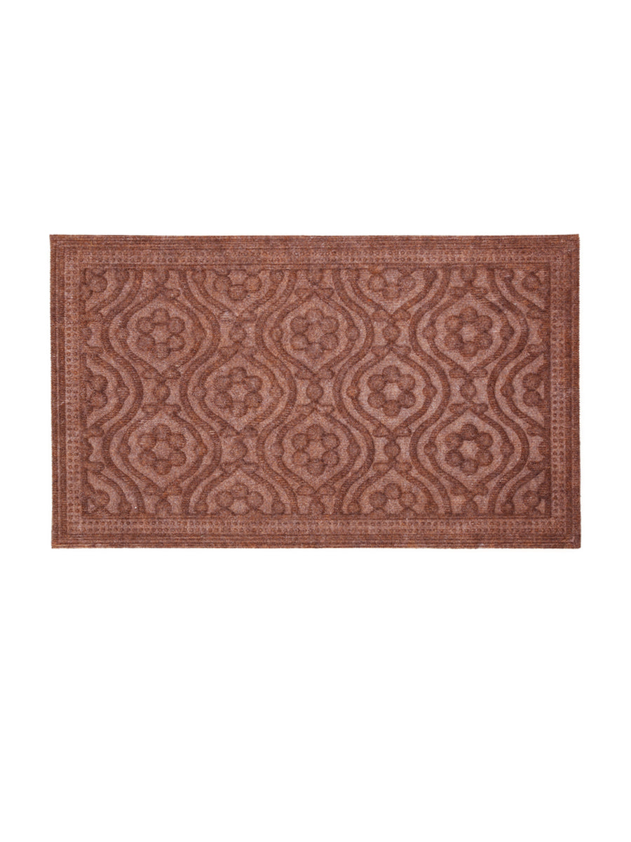 Floral 45 x 75 cm Polypropylene Door Mat (Brown)
