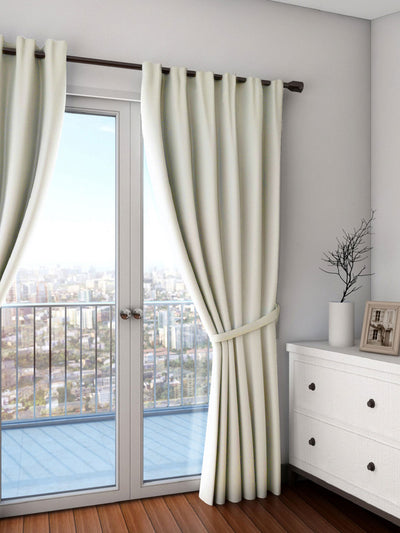 Swayam Plain Blackout Door Curtain 137X274Cm (Off White)