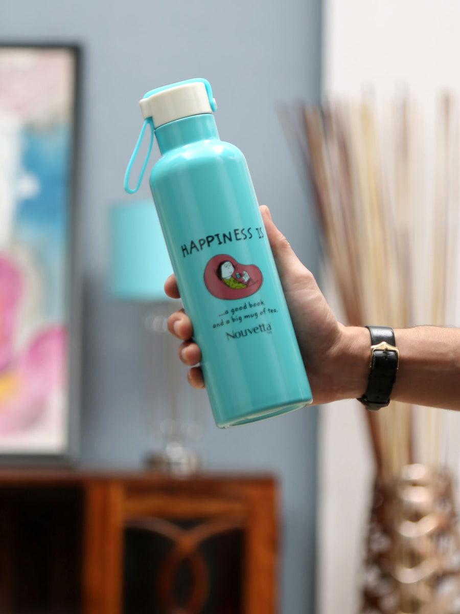 Happiness 500 ml Double Wall Bottle (Blue)