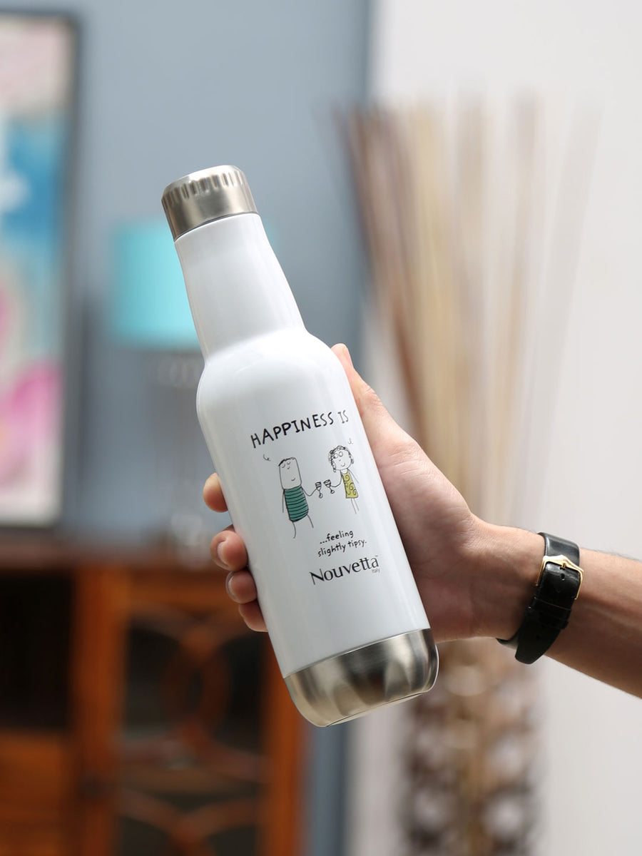 Happiness Barrel 500 ml Double Wall Bottle (White)