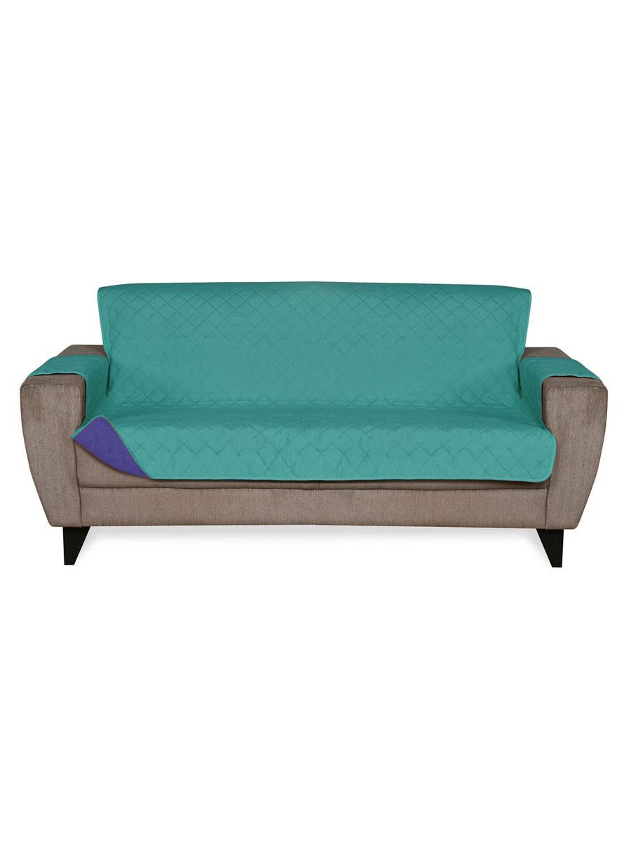3 Seater Reversible Sofa Cover 179 cm x 279 cm (Sea Green & Indigo)