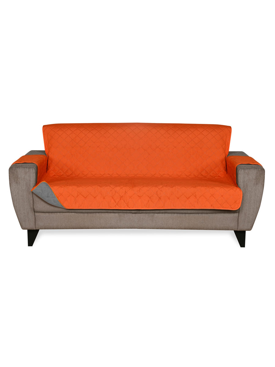 3 Seater Reversible Sofa Cover 179 cm x 279 cm (Orange & Grey)