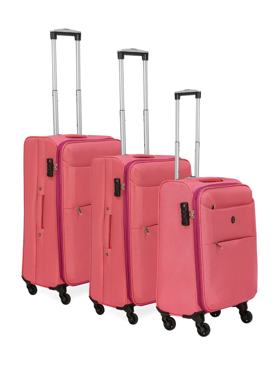 Single Wheel Fabric Trolley Bag Set of 3 (Pink & Lavender)