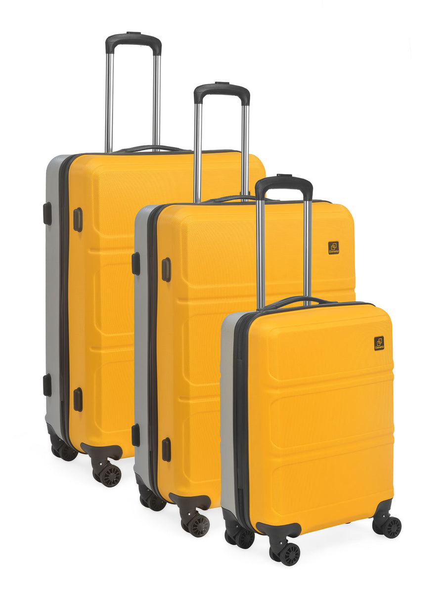 Double Wheel ABS Trolley Bag Set of 3 (Yellow & Grey)